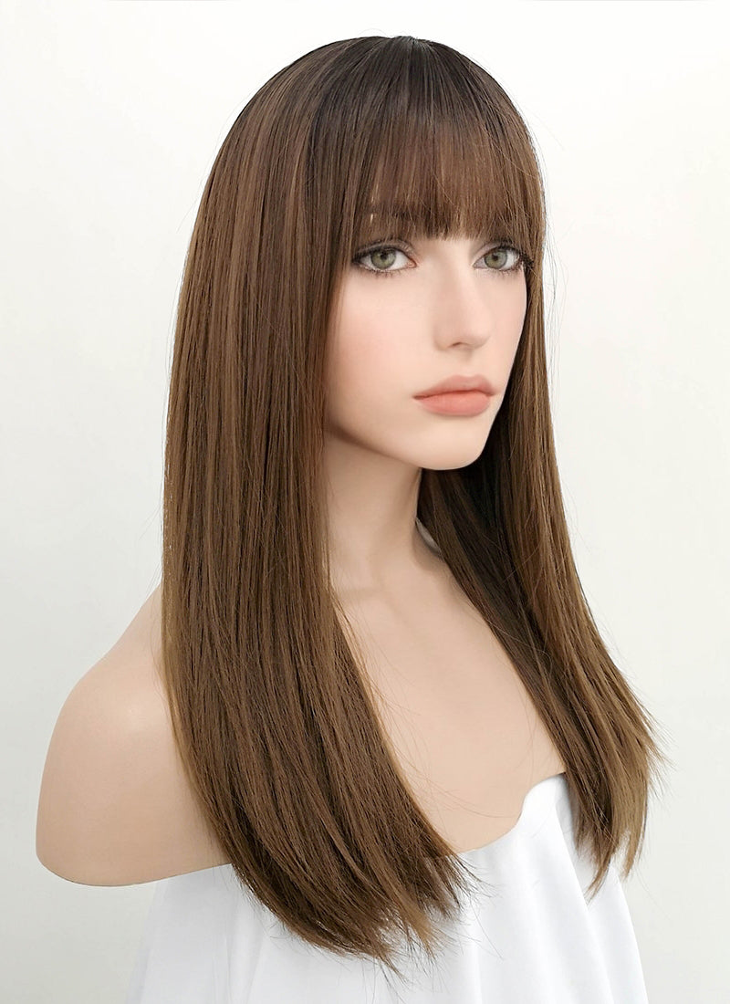 Chestnut Brown With Dark Roots Straight Synthetic Wig NS050 - Wig Is Fashion