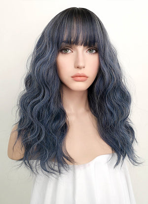 Dark Blue With Dark Roots Wavy Synthetic Wig NS054 - Wig Is Fashion