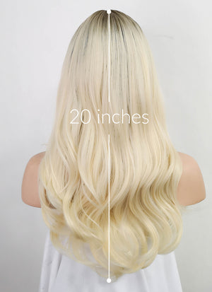 Light Blonde With Dark Roots Wavy Synthetic Wig NS143