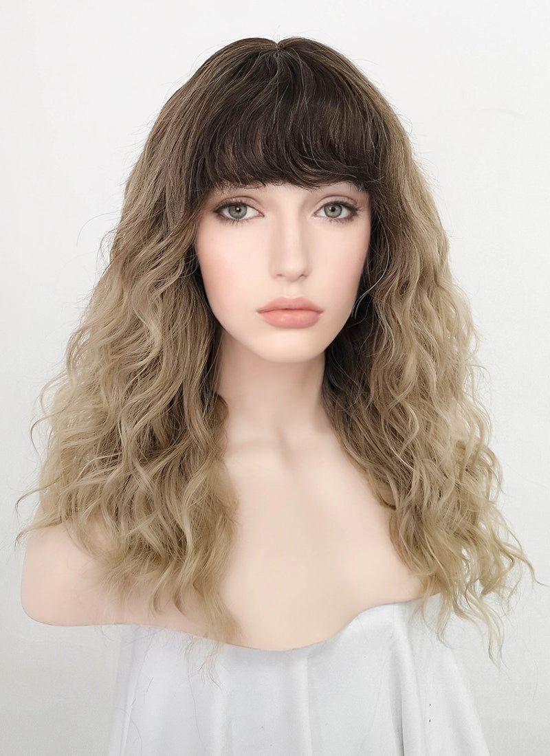 Ash Blonde With Dark Roots Wavy Synthetic Wig NS196