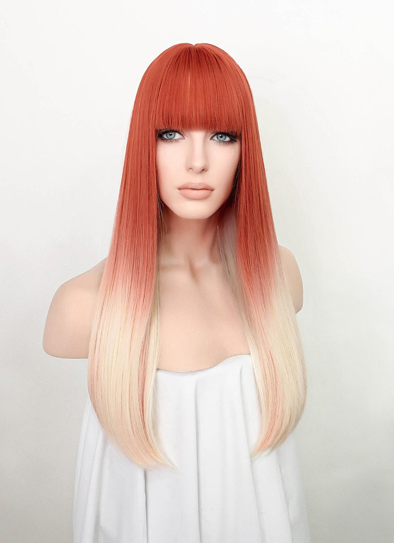 Orange Red Blonde Ombre Straight Synthetic Wig NS197
