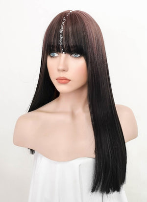 Black With Pink Roots Straight Synthetic Wig NS242