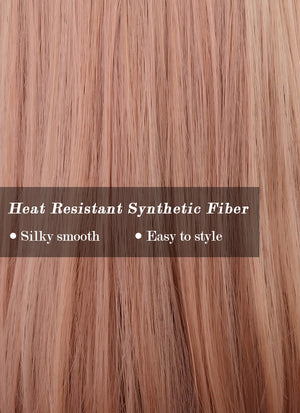 Peach Pink With Dark Roots Straight Synthetic Wig NS250