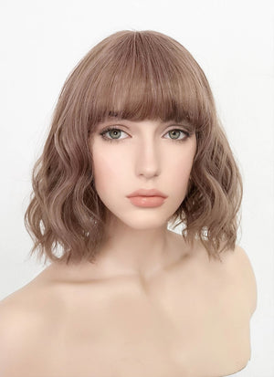 Pastel Pale Plum With Curly Bang Synthetic Wig PN004 - Wig Is Fashion