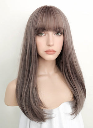 Ash Pinkish Grey Straight Synthetic Wig PN010 - Wig Is Fashion