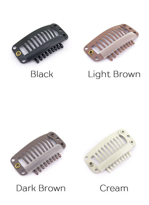 Black / Light Brown / Dark Brown / Cream 9 Teeth Snap Clips - Wig Is Fashion