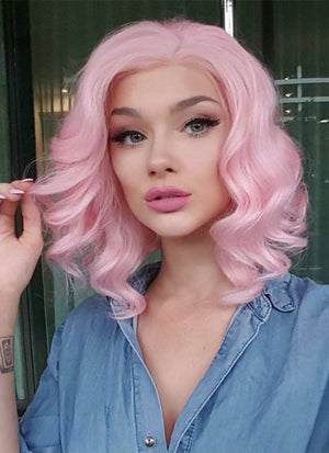 Pastel Pink Wavy Bob Lace Front Synthetic Wig LF308 - Wig Is Fashion