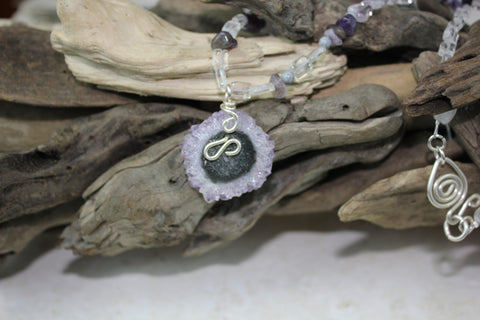 Amethyst Stalactite Purple Flower Circle with Beaded Necklace SOLD OUT