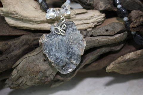 Grey Chacedony Druzy with Beaded Necklace