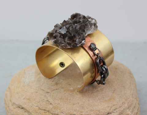 Smoky Quartz on Double Band Copper and Brass Bracelet SOLD OUT