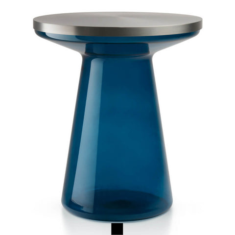 Figure Glass Side Table in Blue