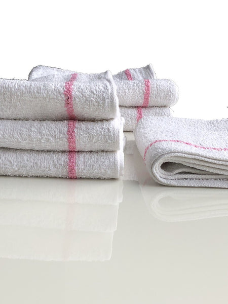 Salon Hand Towel 16x27 White with 2 Pink Stripes - Two Dozens (24 Pieces)