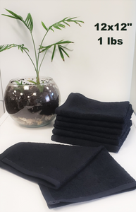 "Bleach Proof Wash Cloth/Face Cloth 12x12"" - Black - 25 dozen (300 Pieces)"