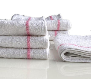 Salon Hand Towel 16x27 White with 2 Pink Stripes