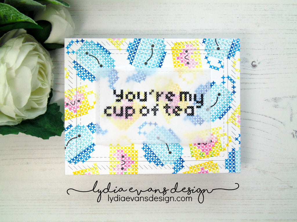 [Guest & Giveaway] Ombre Stamped Stitched Cup of Tea by Lydia Evans