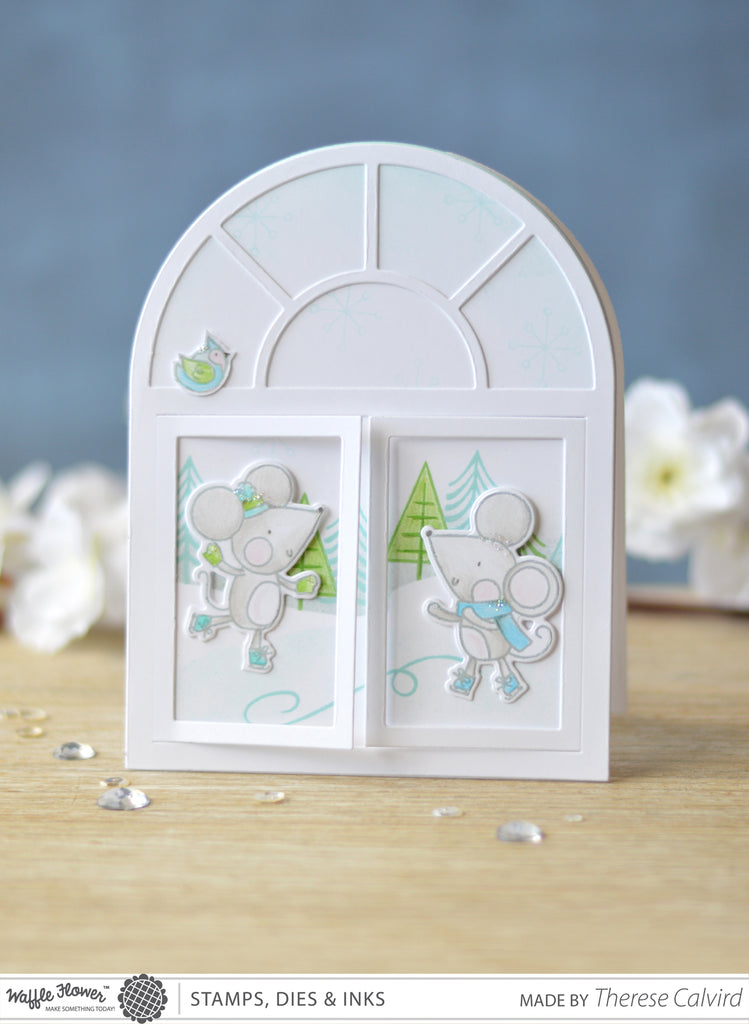 [Fun Friday] A2 Arch Window Skating Scene Card by Therese Calvrid