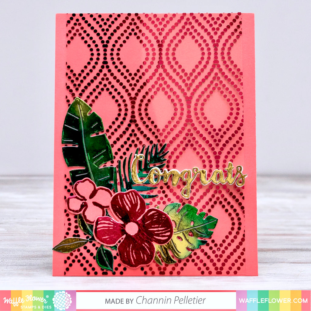 Tropical Floral Card with Thermoweb by Channin