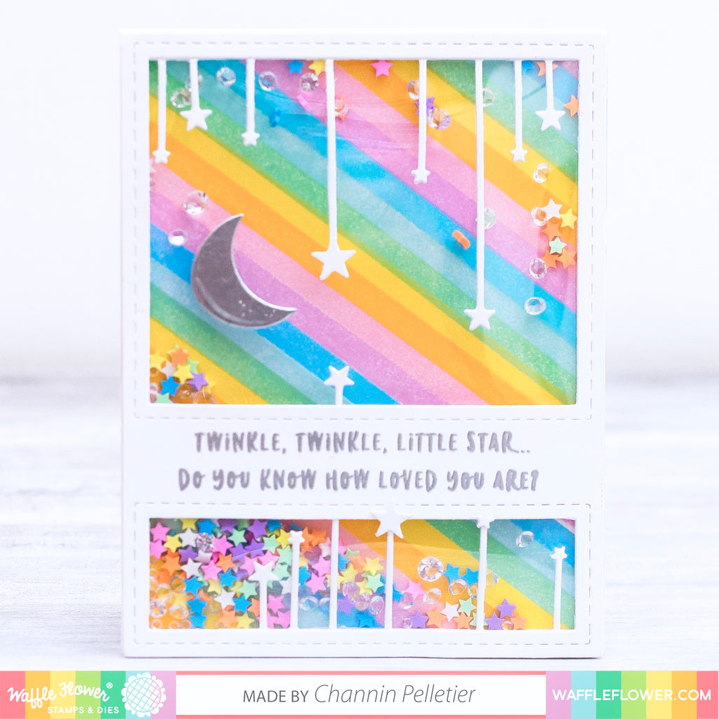 Striped Moon & Stars Shaker Card by Channin