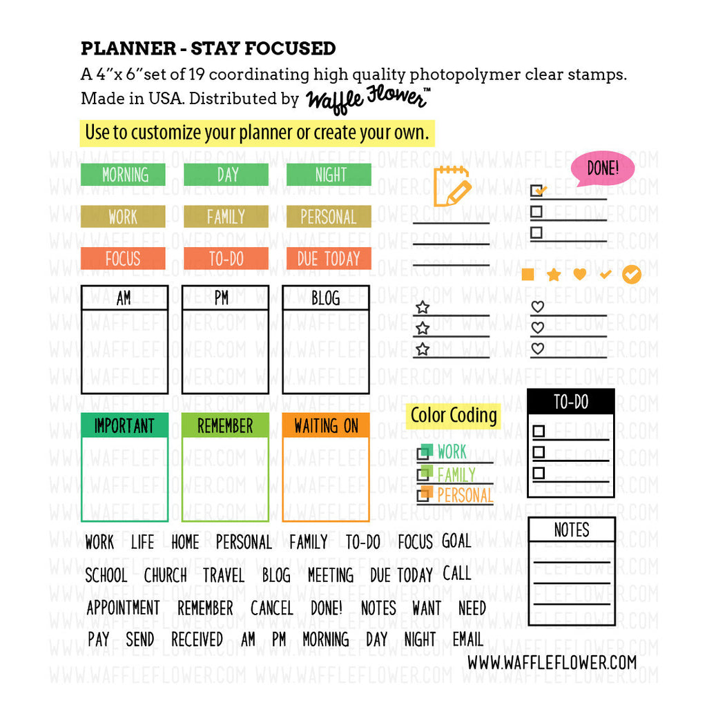 Planner: Stay Focused Stamp Set