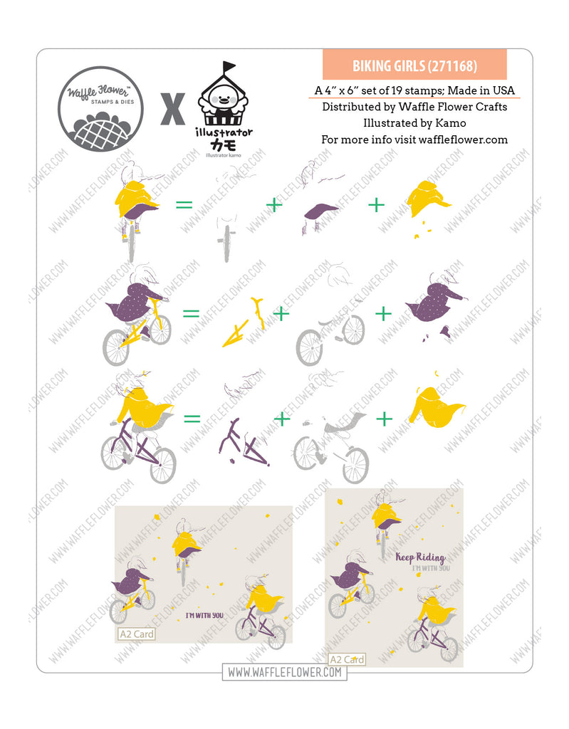 Biking Girls Stamp Set
