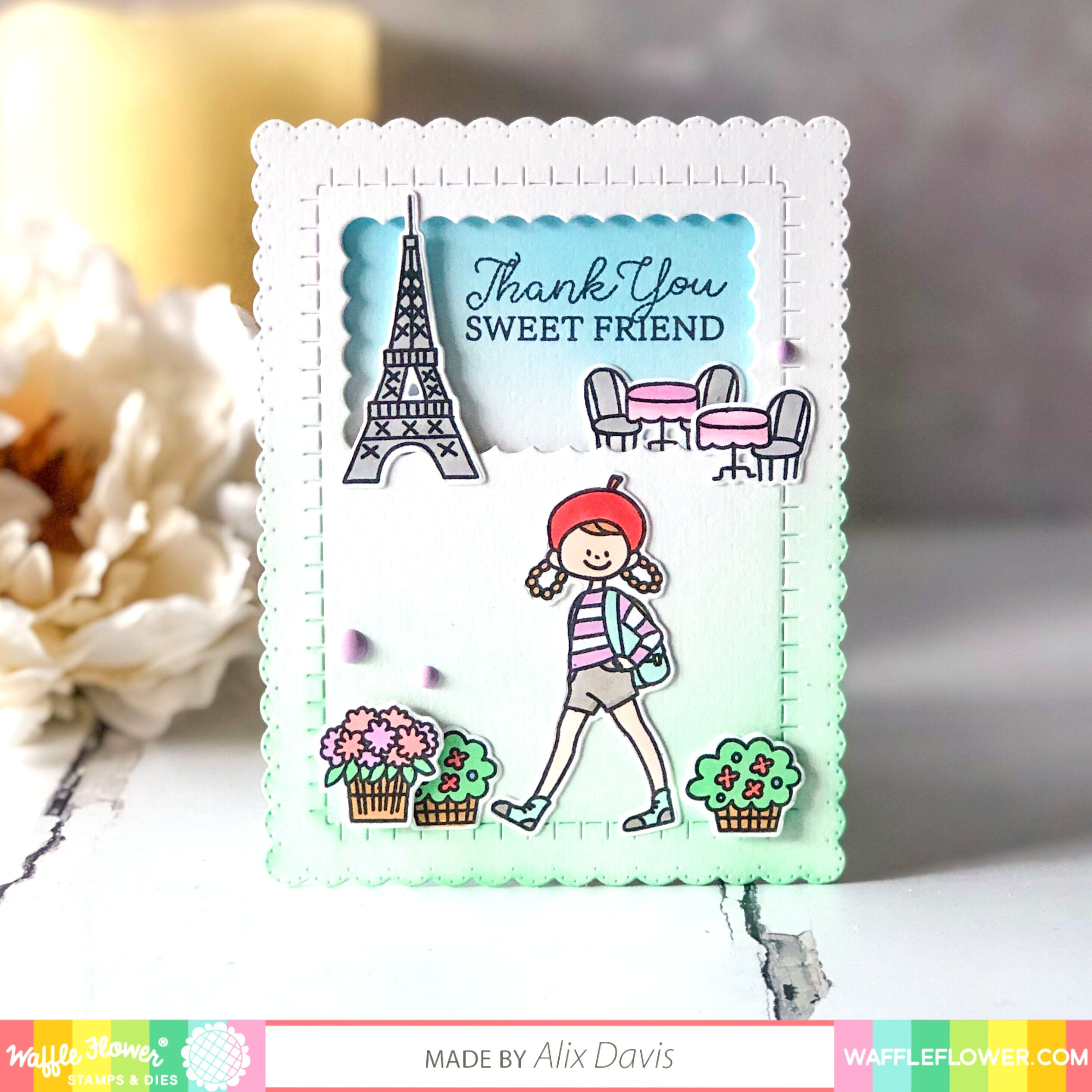 Bonjour Hello French Doodle Square Rubber Stamp for Stamping Crafting