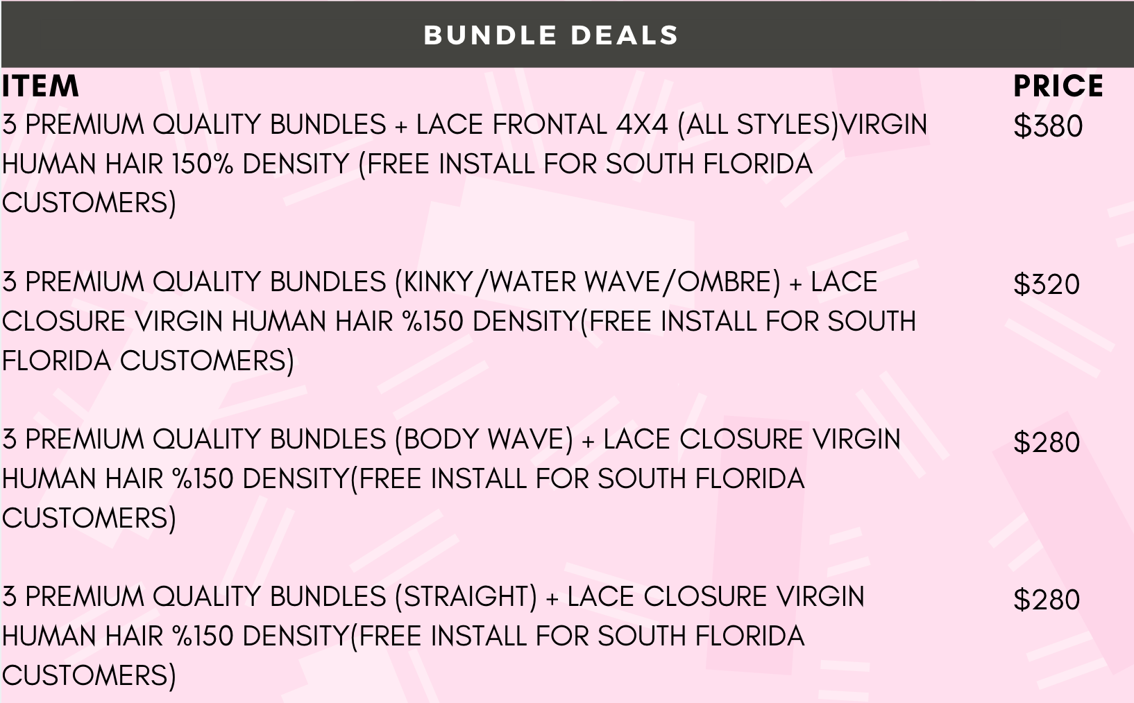 sew in fort Lauderdale, cheap bundle deals fort Lauderdale, lace installs fort lauderdale