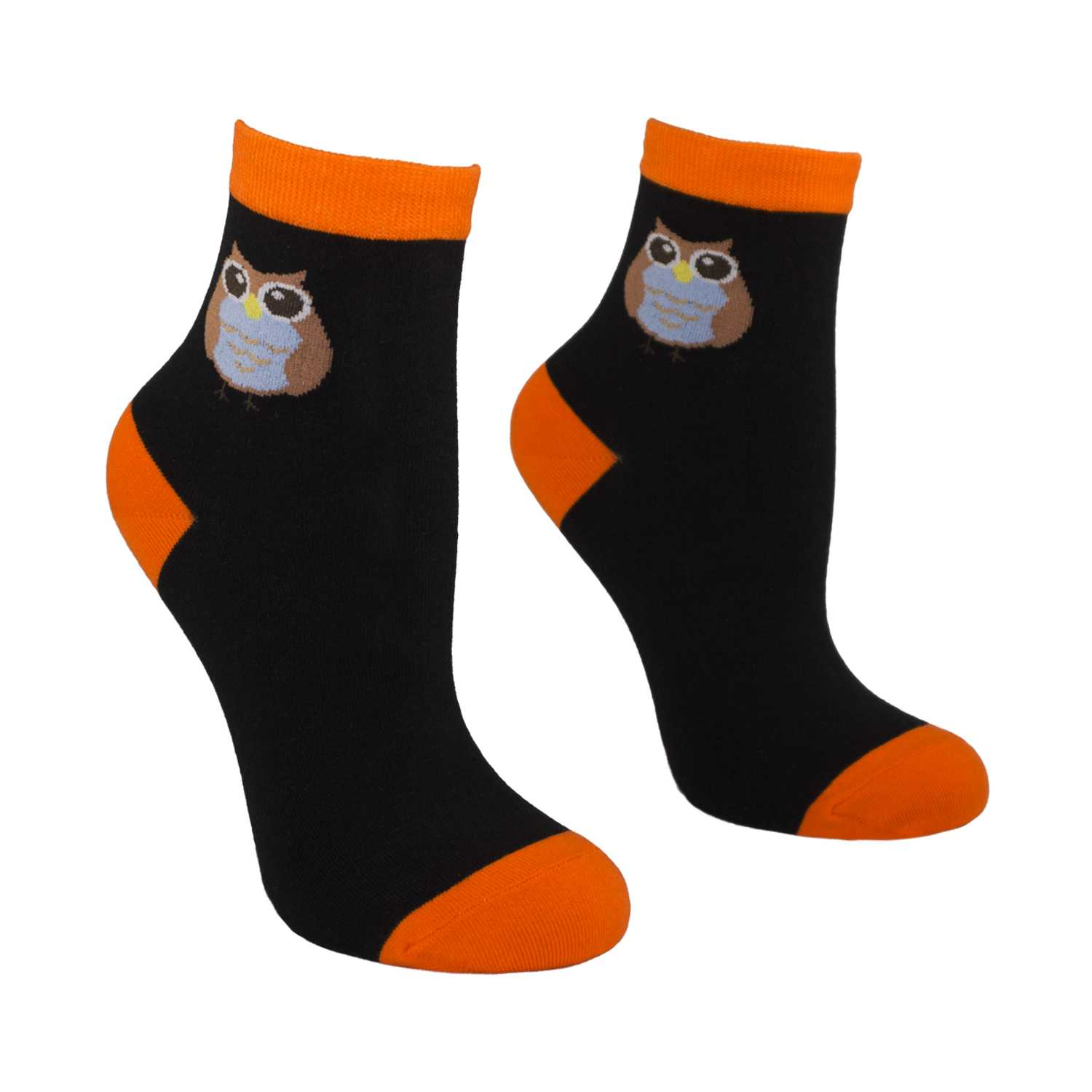 Women's Owl Design Crew Socks - Black - Zestique