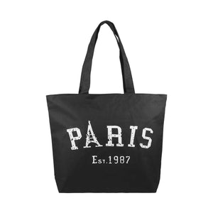 Paris Canvas Tote Bag - Black - Zestique