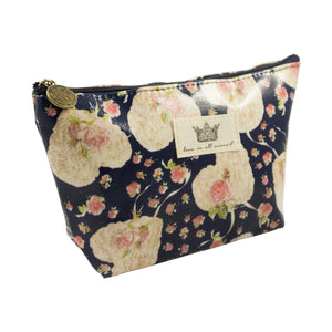 Heart Shape Flower Pattern Cosmetic Pouch Bag - Navy - Zestique