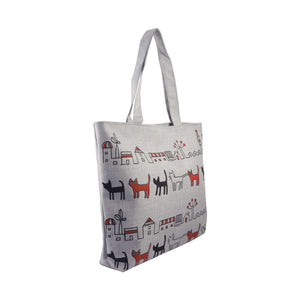 Cat's City Illustration Canvas Tote Bag - Gray - Zestique