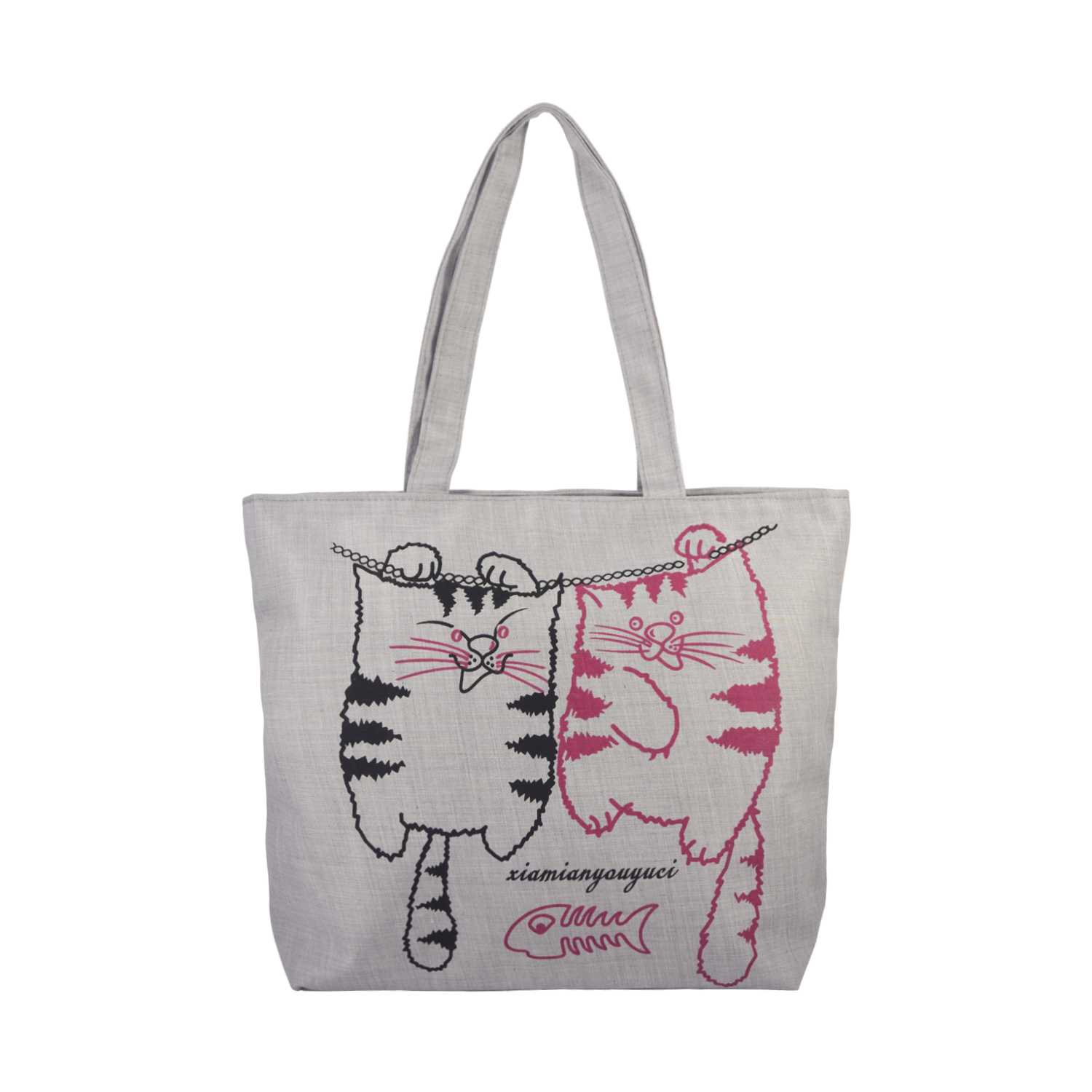 Two Kitties Illustration Canvas Tote Bag - Gray - Zestique