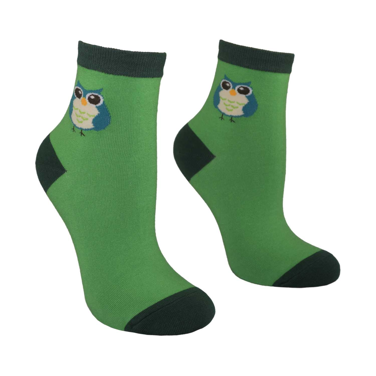 Women's Owl Design Crew Socks - Green - Zestique