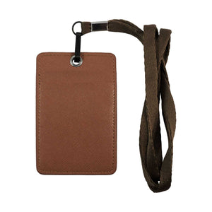 Unisex ID & Credit Cards Holder Wallet with Lanyard - Brown - Zestique