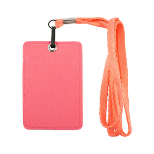 Unisex ID & Credit Cards Holder Wallet with Lanyard - Pink - Zestique