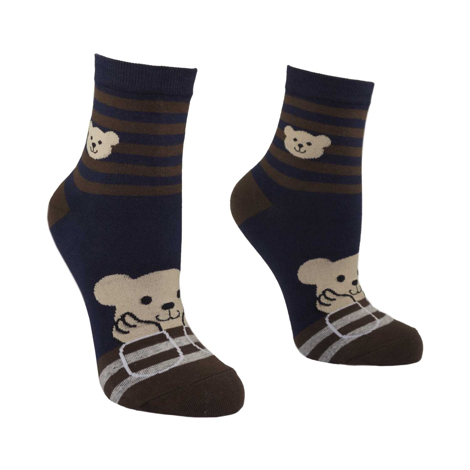 Women's Pretty Bear Design Crew Socks - Navy - Zestique