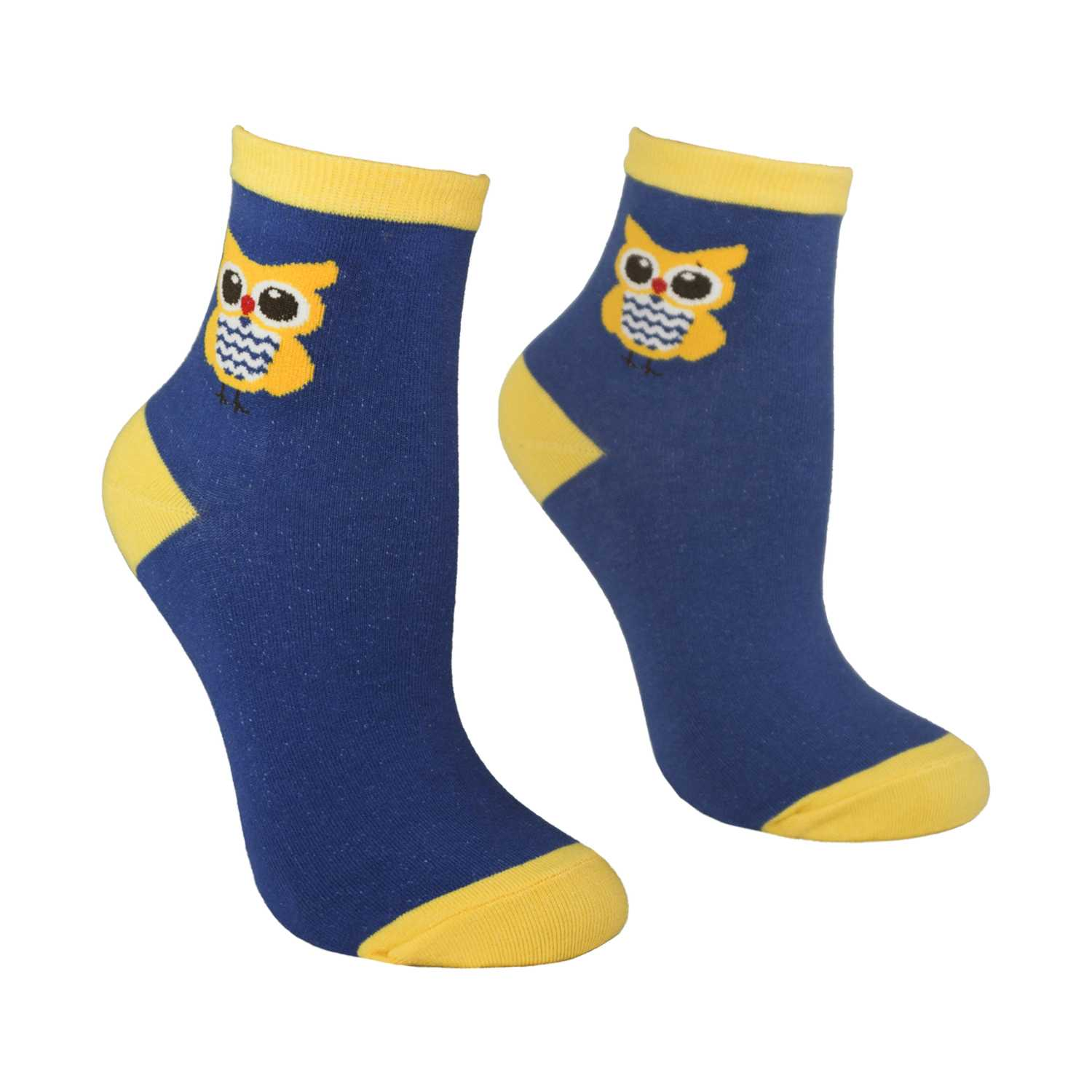 Women's Owl Design Crew Socks - Navy - Zestique