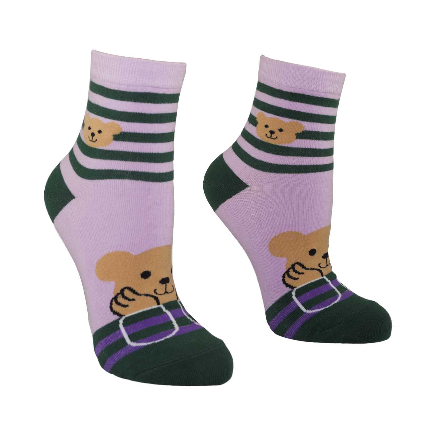 Women's Pretty Bear Design Crew Socks - Pink - Zestique
