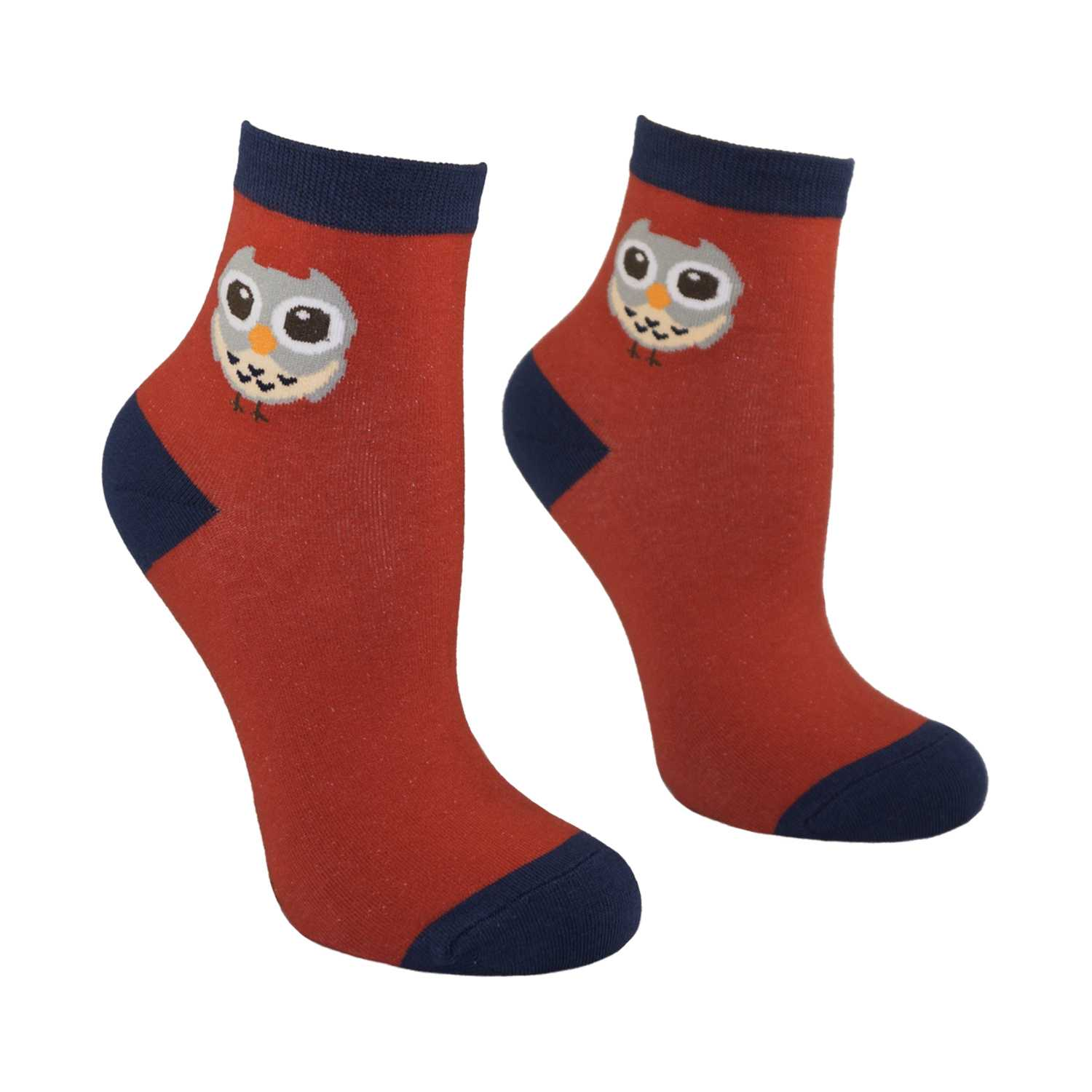 Women's Owl Design Crew Socks - Red - Zestique