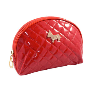 Shiny Half Moon Shape Cosmetic Pouch Bag - Red - Zestique