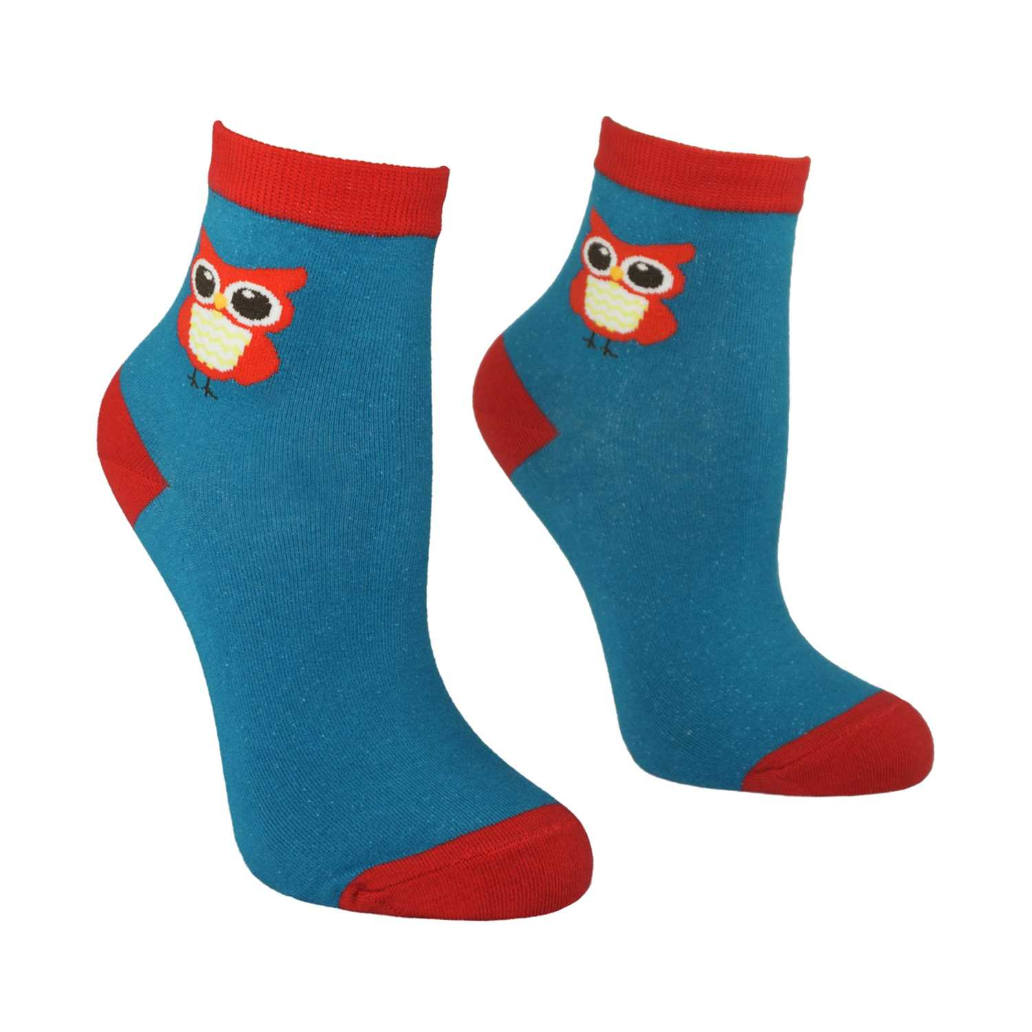 Women's Owl Design Crew Socks - Teal - Zestique