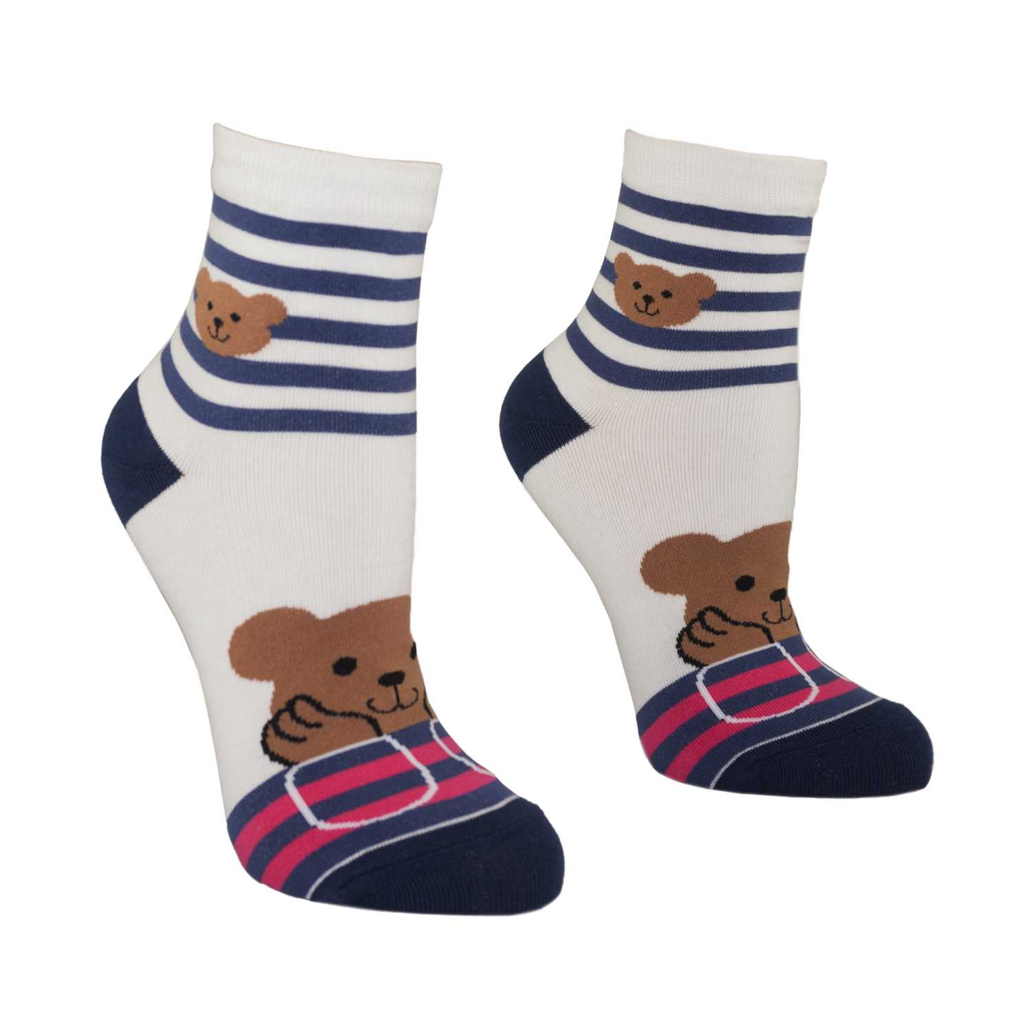 Women's Pretty Bear Design Crew Socks - White - Zestique