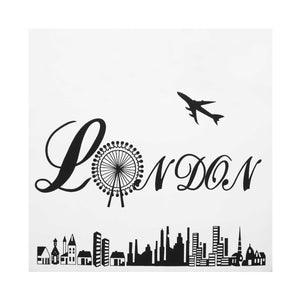 London Festival Themed Illustration Canvas Tote Bag - White - Zestique