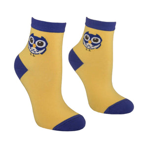 Women's Owl Design Crew Socks - Yellow - Zestique