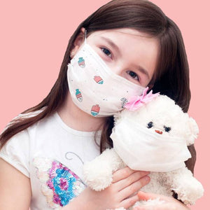 50 pcs Cute Fish 3 Layers Disposable Kids Face Mask Mouth Cover - Zestique