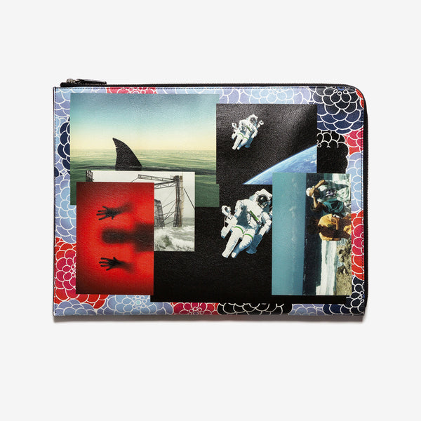 Raf Simons / Multicolor Photo-Montage Print Leather Document Holder