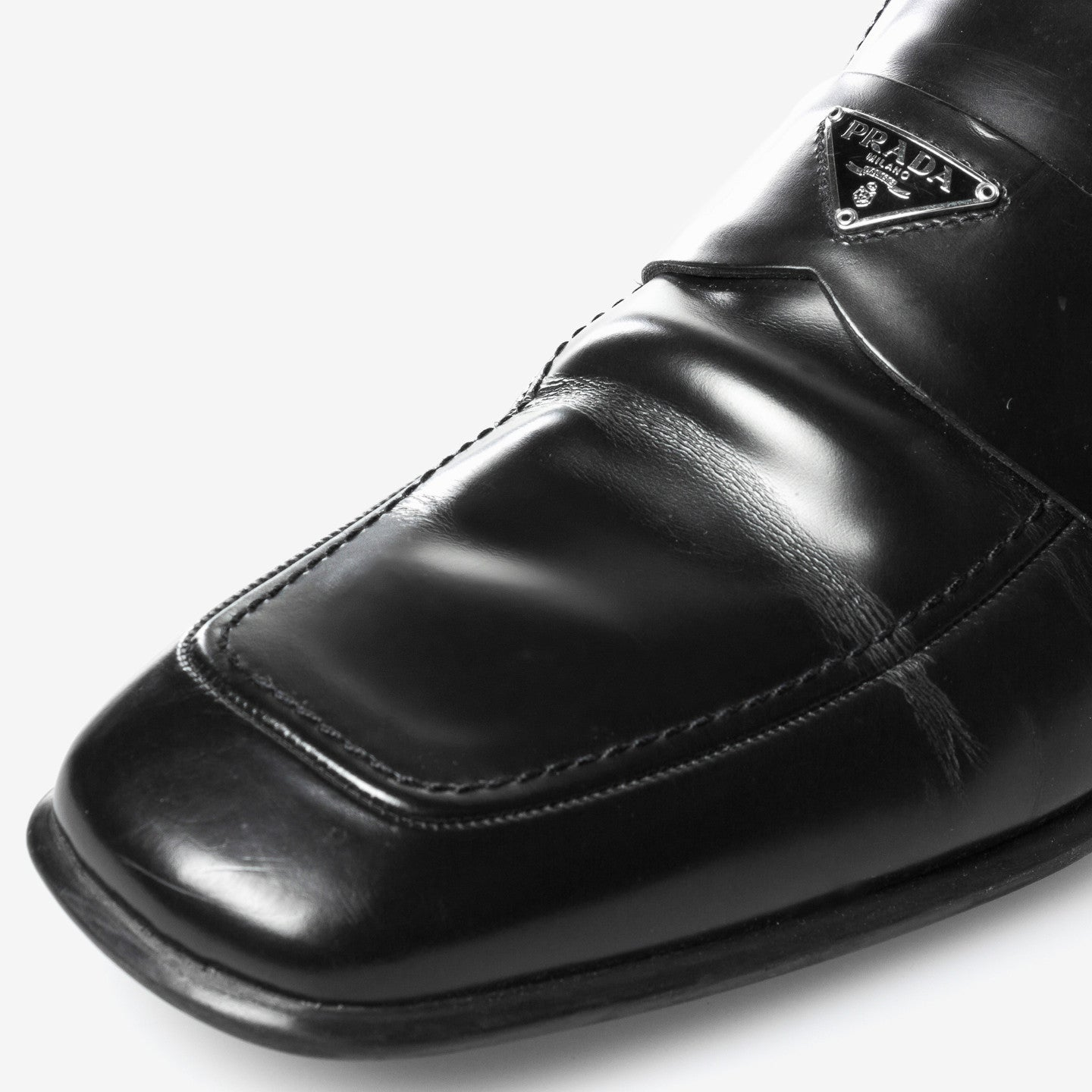 Prada / Leather square-toe loafers