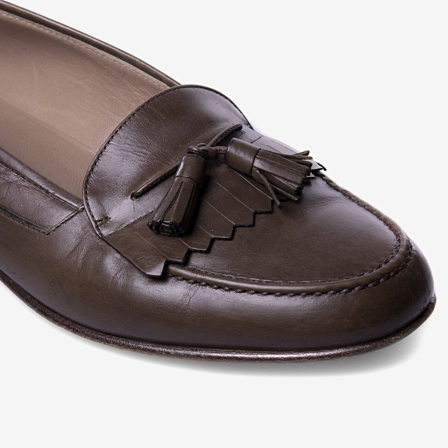 Bally / Brown Leather Kiltie Tassel Loafers