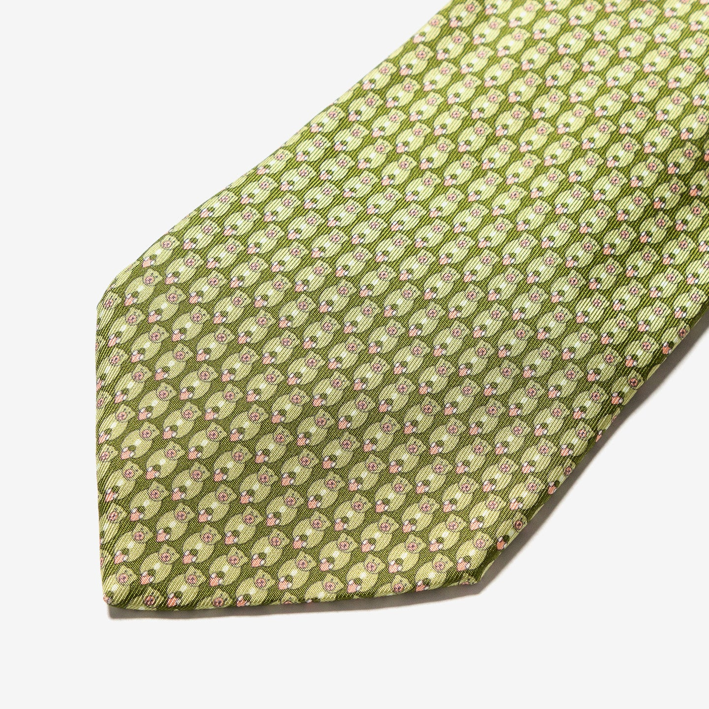 Salvatore Ferragamo / Printed Green Silk Tie