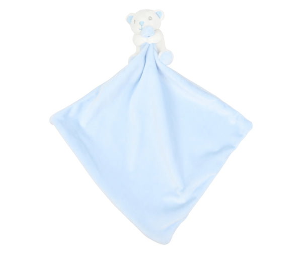 Personalised Blue Bear Embroidered Baby Comforter