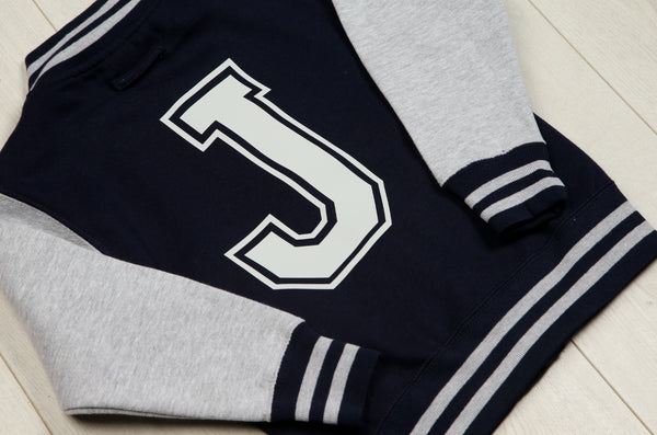 Personalised Navy and Grey Varsity Jacket - Mini Kings & Queens